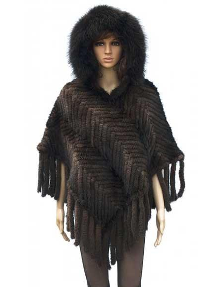 Handmade Fur Ladies Brown Genuine Knitted Mink Jacket