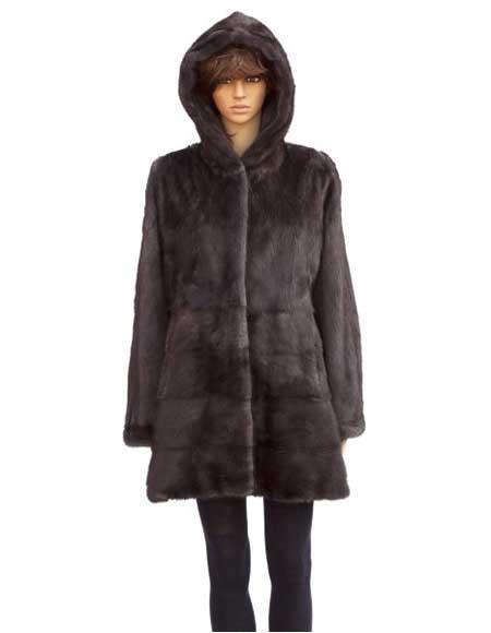 Handmade Fur Brown Full Skin Mink 3/4 Coat Jacket