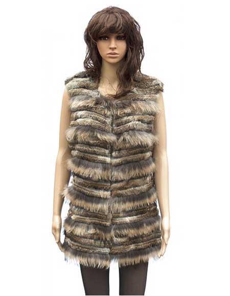 Handmade Genuine Mink Fur Brown Rabbit 3/4 Vest