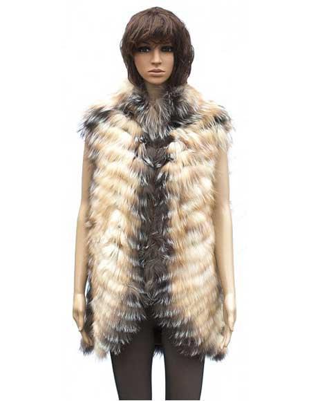 Handmade Fur Chevron Vest in Crystal Fox Collar Jacket