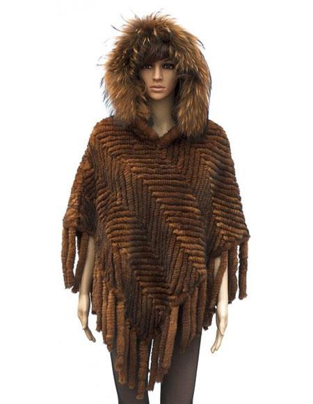 Fur Genuine Knitted Mink Poncho Whiskey Jacket