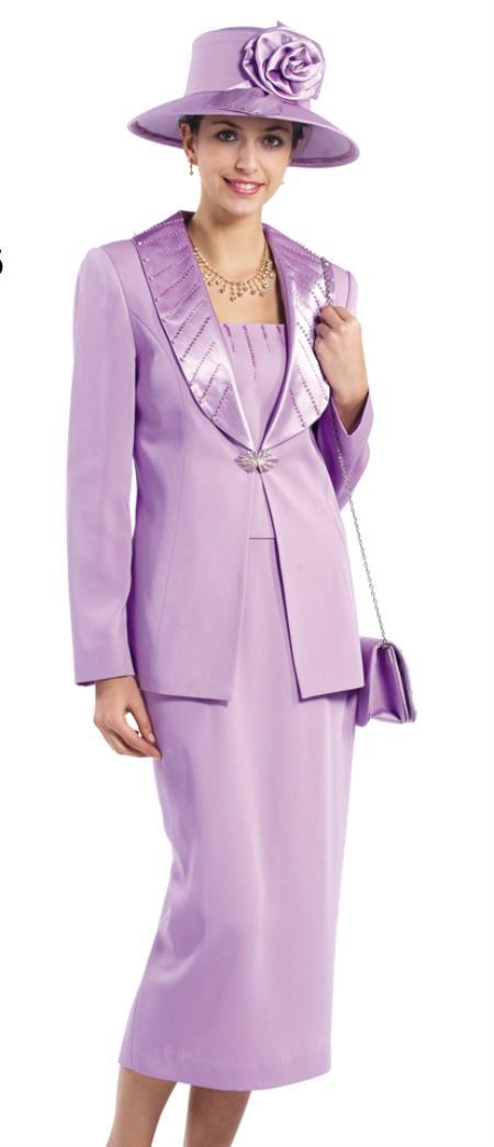 SKU#WO158 Women Dress Set Lavender