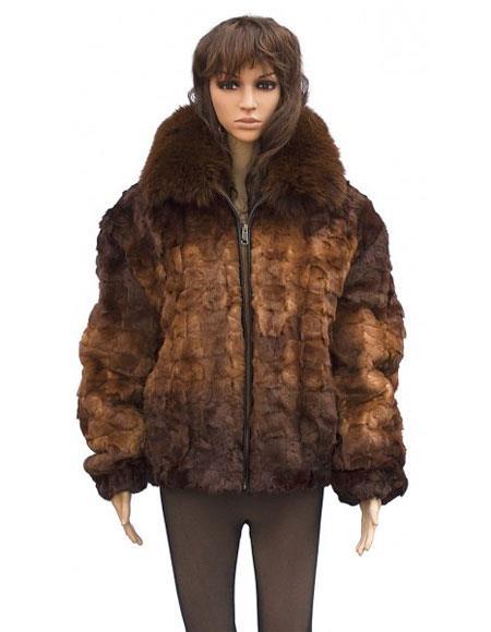 Fur Genuine Mink Whiskey Fox Collar Pull Up Zipper Jacket