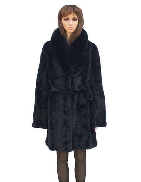 Buy GD846 Fur Navy Mink Front Paws 3/4 Coat Fox Collar Belt