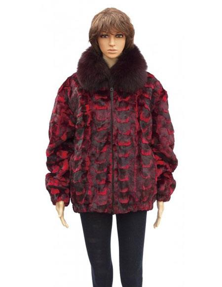 Fur Red Sheared Genuine Mink With Fox Collar Jacket