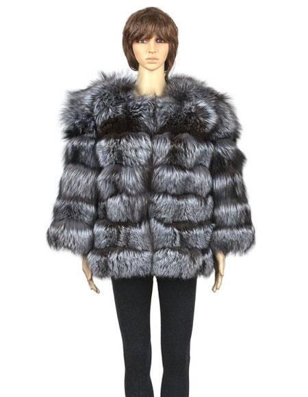 Fur Silver Genuine Fox Pull Up Zipper Jacket