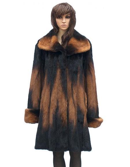 Fur Genuine Mink Whiskey Full Skin 3/4 Coat