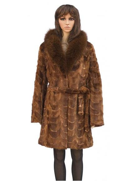 Buy GD862 Fur Whiskey Mink Front Paws 3/4 Coat Fox Collar Belt