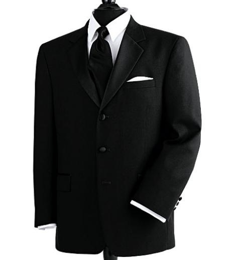 SKU# SP230 100% Wool Feel Light Weight Soft Poly~Rayon 3 Button Tuxedo Suit $144