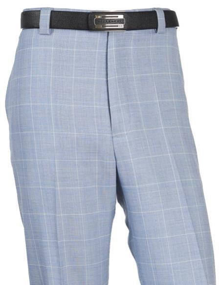 Mens Wool WindowPane Designed Flat Front Blue Pant No Pleated Classic Fit Plaid ~ Window Pane unhemmed unfinished bottom