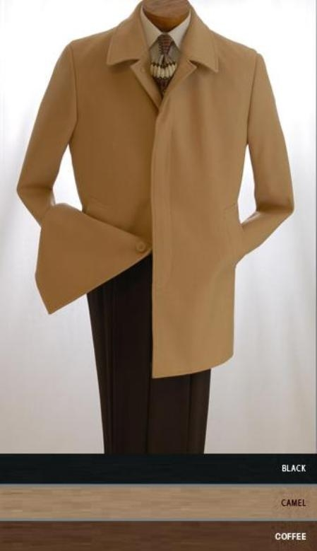 "SKU#Sloan3121 35""  Black four button fly front coat with set-in sleeves Wool&Cashmere $275"