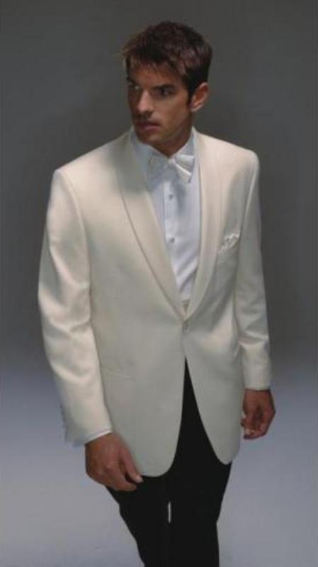 SKU# SY347 Wool Dinner Jacket Single Breasted - Mens Ivory Dinner Jacket $219