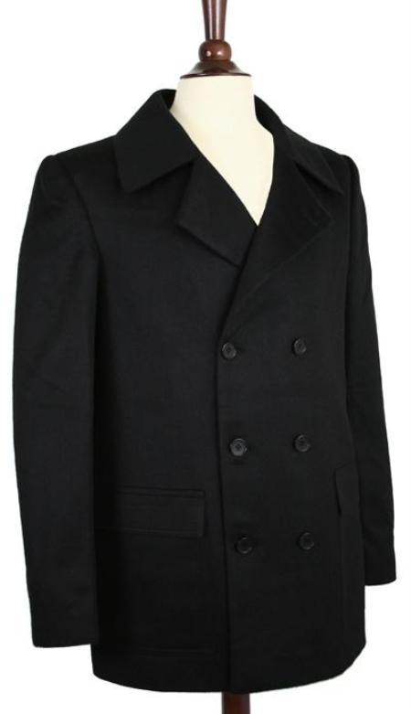 SKU#AK COAT08 Wool Pea Coat Wool Blend Double Breasted Broad Lapels Side Pocket in 3 Color