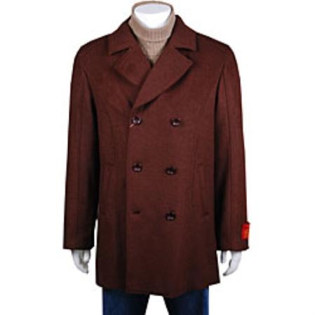 COAT08 Wool Pea Coat Wool Blend Double Breasted Broad Lapels Side Pocket in 3 Color $750