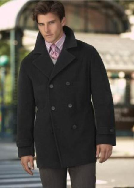 SKU#DS COAT08 Wool Pea Coat Wool Blend Double Breasted Broad Lapels Side Pocket in 3 Color