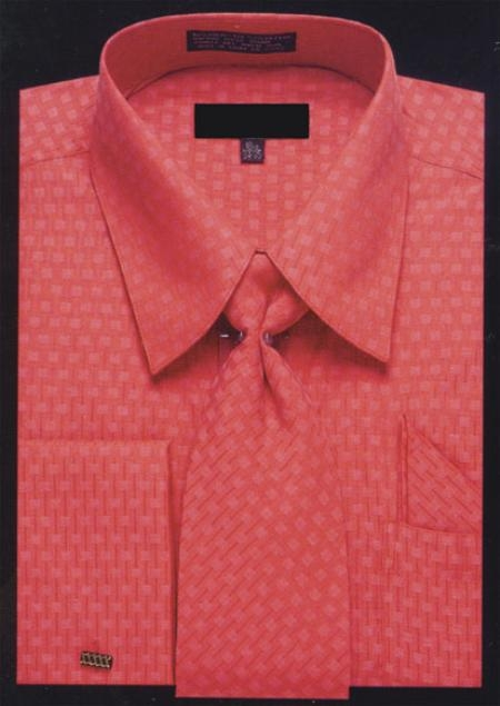 SKU#HF370 Woven Jacquard Pattern, Pat Riley Collar and French Cuffs