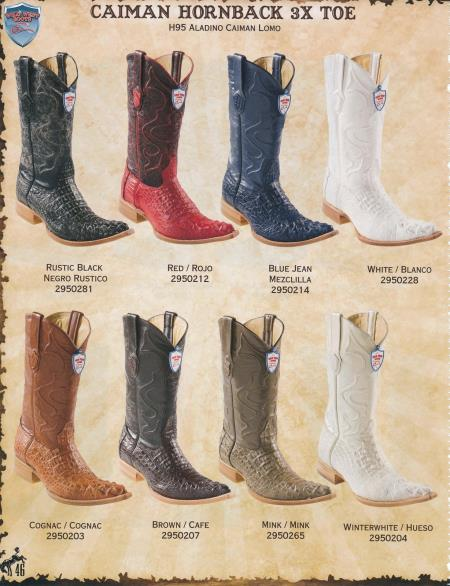 3XToe caiman ~ World Best Alligator ~ Gator Skin Hornback Diff. Colors/Sizes Cowboy Western Boots Black/Brown/White/Cognac/Winterwhite