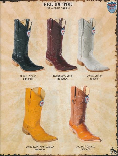 3XToe Genuine Elk Diff. Colors/Sizes Cowboy Western Boots Black/Brown/White