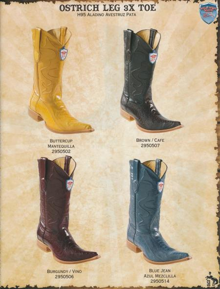 Buy P99S XXX-Toe Genuine Ostrich Leg Diff.Color/Size Cowboy Western Boots Brown/Burgundy ~ Wine ~ Maroon Color/Buttercup/Blue Jean