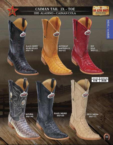 Buy DIK2 Los Altos 3X Toe Genuine caiman ~ World Best Alligator ~ Gator Skin Tail Mens Western Cowboy Boots Diff.Colors/Sizes
