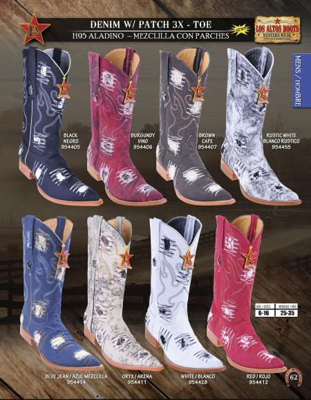 SKU#7HY6 Los Altos XXX-Toe Denim w/ Patches Mens Western Cowboy Boots Diff. Colors/Sizes