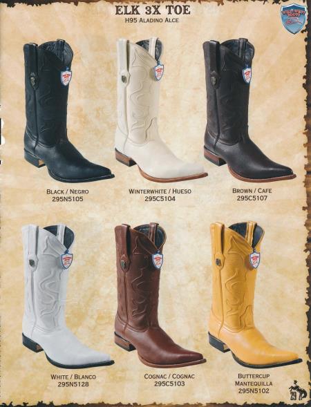 SKU#2QD1 XXX-Toe Genuine Elk Mens Cowboy Western Boots Diff. Colors/Sizes