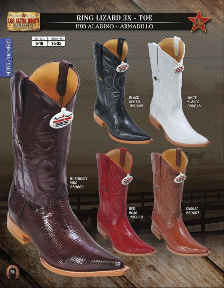 SKU#8UC2 Los Altos XXX-Toe Genuine Ring Lizard Mens Western Cowboy Boot Diff.Colors/Sizes