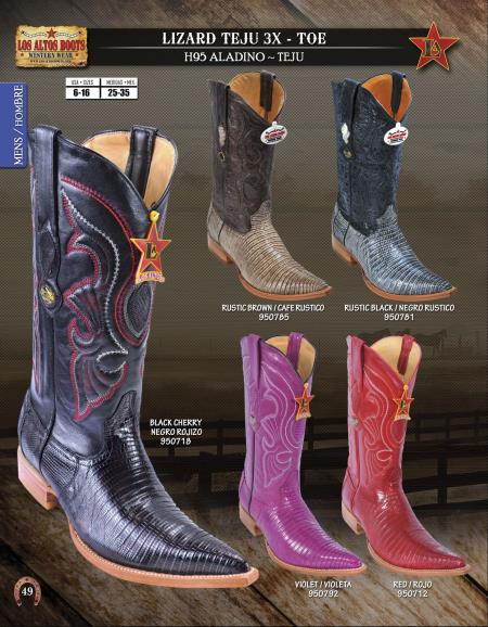 Los Altos Mens 3X-Toe Genuine Lizard Teju Western Cowboy Boot Diff.Colors/Sizes