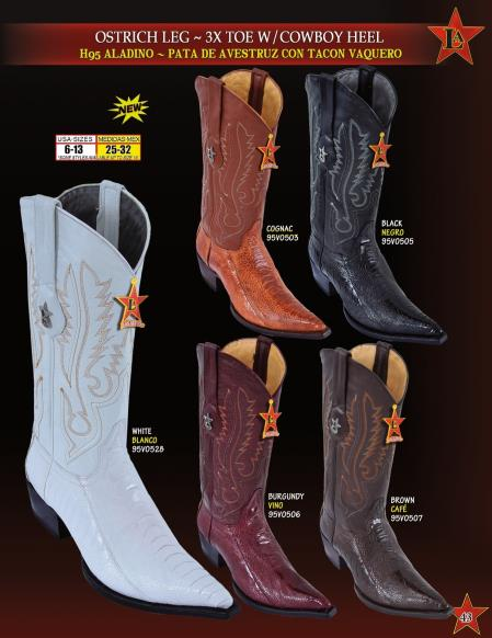 Buy SWQ2 Los Altos Men's XXX 3X Toe Genuine Ostrich Leg Cowboy Heel Western Boots