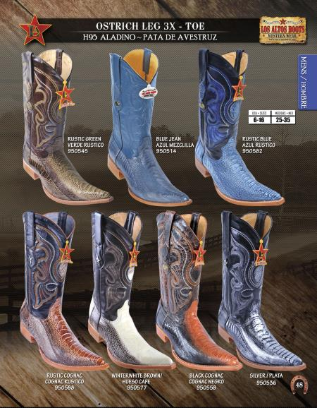 cc8b926d2c9 Los Altos 3X-Toe Genuine Ostrich Leg Mens Western Cowboy Boot  Diff.Colors/Sizes