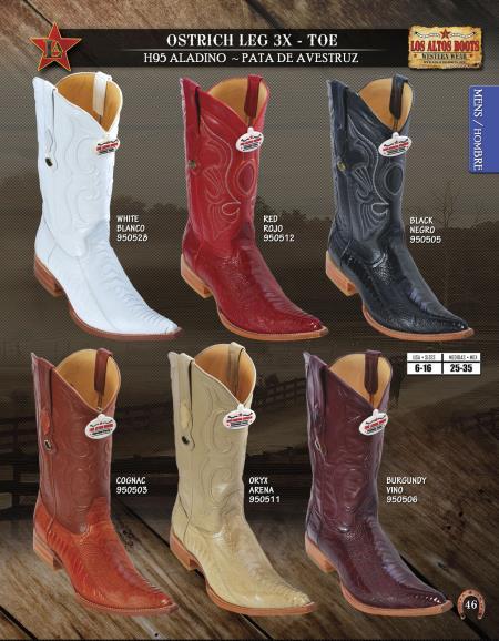 Los Altos 3X Toe Genuine Ostrich Leg Mens Western Cowboy Boots Diff.Colors/Sizes