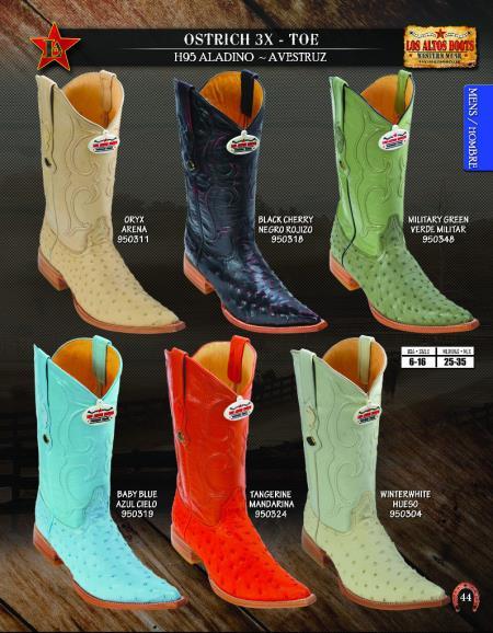 Mens Los Altos 3X Toe Genuine Ostrich  Western Cowboy Boots Diff. Colors/Sizes