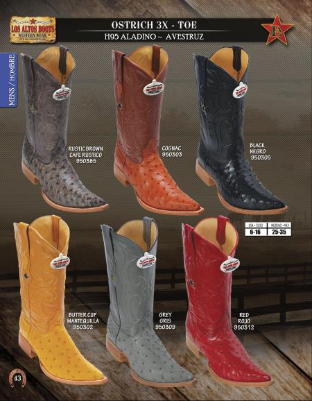 Mens Western cushioned leather Los Altos 3X Toe Genuine Ostrich Cowboy Boots Diff.Colors/Sizes