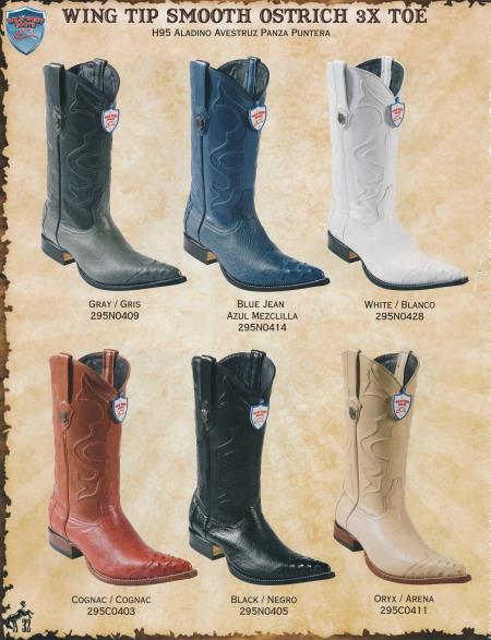 Mens 3X Toe Wing Tip Genuine Ostrich Cowboy Boots Diff.Color/Size - Botas De Avestruz