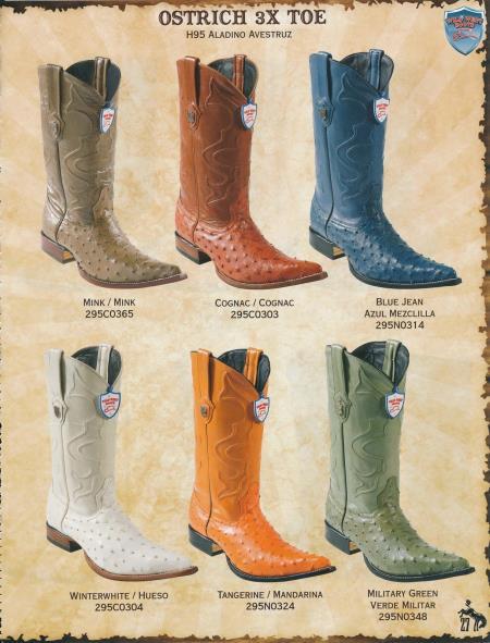 3X Toe Genuine Ostrich Mens Cowboy Western Boots Diff. Colors/Sizes - Botas De Avestruz
