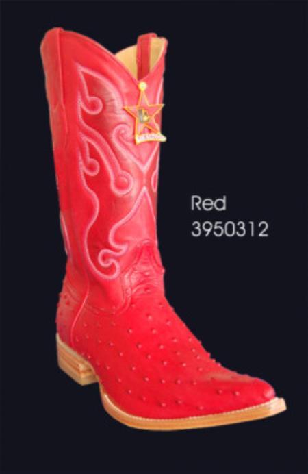 3XToe Printed Ostrich Mens Cowboy Boots by Los Altos