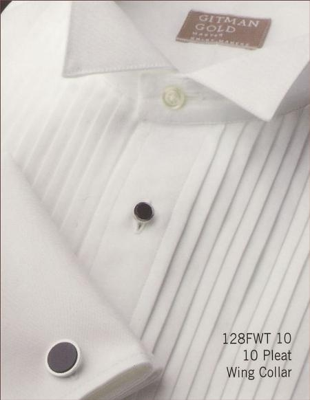 Gitman Year-Round > 10 Pleat Wing Collar French Cuffs  100% Cotton 4 Buttons Removable Strip $95