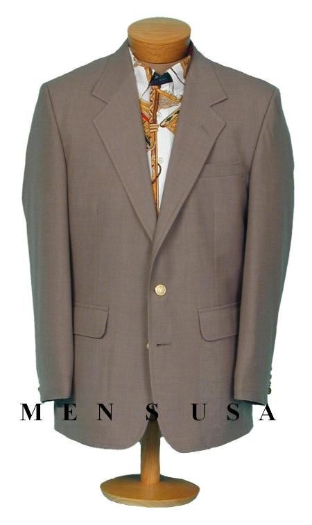 SKU#TCE150 13-40 Mens 2 Btn Straw khaki/Tan BLAZER With Brass Buttons (Men + Women) $175