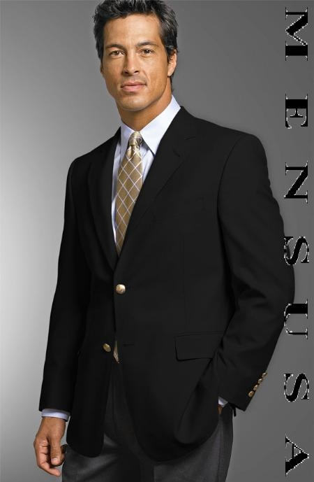 SKU# HUA102 YearRounder 19-3 MENS 2 Button Texture Black BLAZE or JACKET With Brass Buttons $125