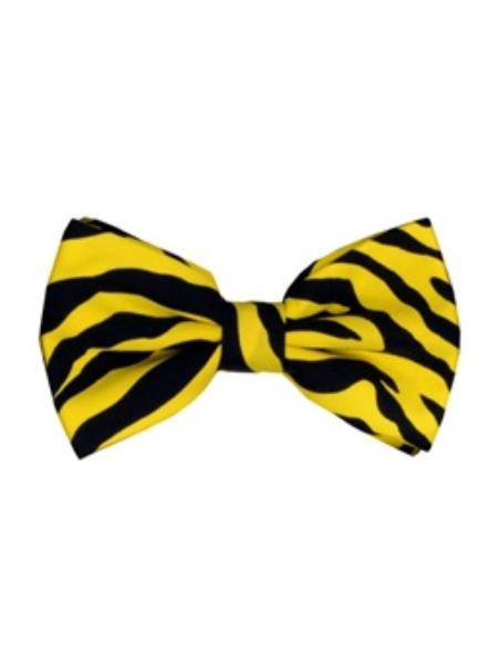 Mens Yellow and Black Zebra Pattern Design Bow Ties