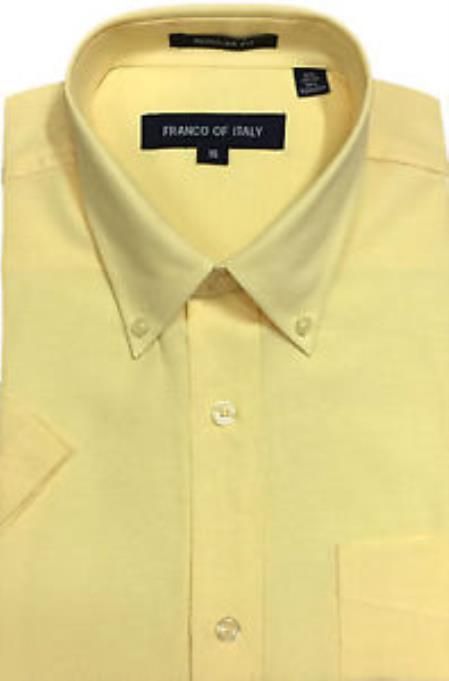 Basic Button Down Oxford Soft Yellow Short Sleeve Summer Wear Mens Dress Shirt