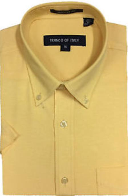 Mens Yellow Basic Button Down Short Sleeve Solid Oxford Dress Shirt