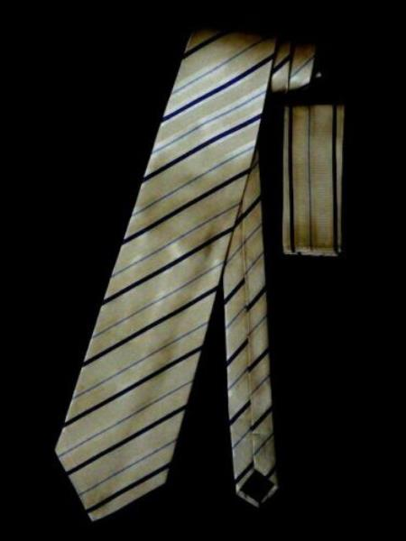 Silk Neck Tie W Hanky Yellow Blue