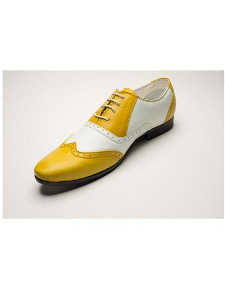 Buy GD1056 Men's Two Toned Yellow/White Lace Casual Dress Shoes