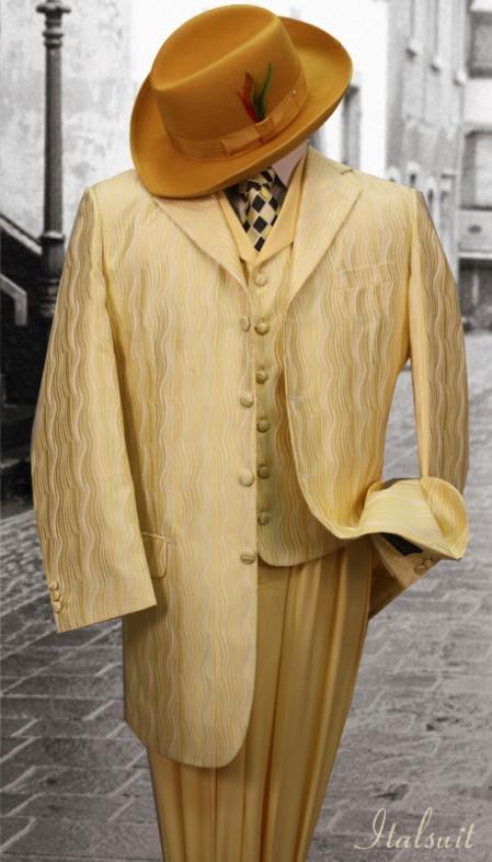 SKU#SG578 Yellow 3PC Fashion Zoot Suit $185