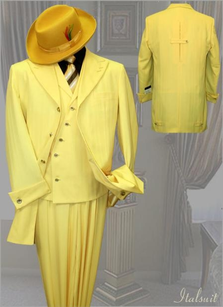 SKU#HG899 Yellow Mens Fashion Tone on Tone Pattern Suit 3PC With Vest & Wide Leg Pants $299