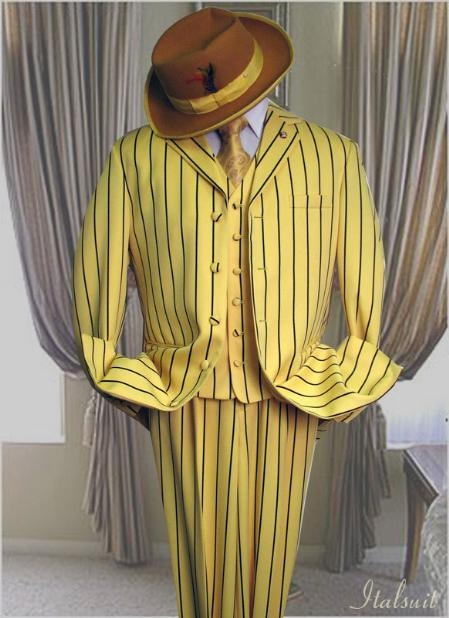 SKU#SF456 Yellow With Black Pinstripe Fashion Zoot Suit $159