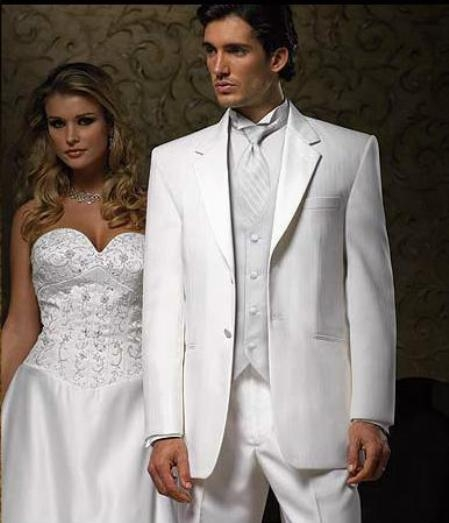 Jean Yves Designer 2 Button Notch White Wedding Suit With Pleated Pants $149