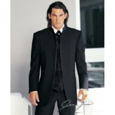 Jean Yves Designer No Button Black Mirage Mandarin Tuxedo With Pleated Pants $299