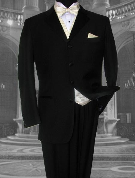 SEU#ER345 ZSP-HIGH END 4 BUTTON MENS BLACK WOOL TUXEDO HAND MADE premier quality italian fabric DESIGN FRENCH CUT ITS ONE  $204